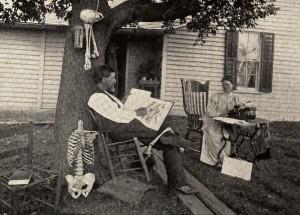 Dr. A. T. Still reading an anatomy book